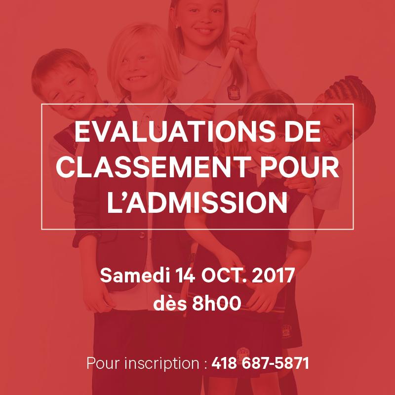 Externat St-Jean-Berchmans - Évaluation de classement pour l'admission - Samedi 14 oct. 2017 dès 8h00 - Pour inscription: 418 687-5871